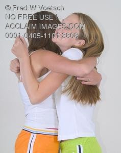 Stock Photo of Two Teens Hugging