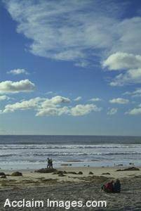 Stock Photo of a Couple of People Walking on the Shore at Pacific Beach