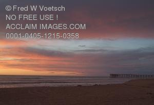 Clip Art Stock Photo of a Pink Sunset at Pacific Beach