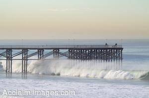 Picture of Waves Breaking at the Crystal Pier, Pacific Beach