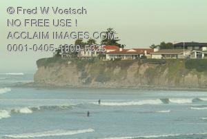 Stock Photo of an Ocean and Houses at Pacific Beach Point, San Diego, California