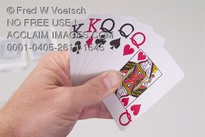 Stock Photo of a Hand of Playing Cards