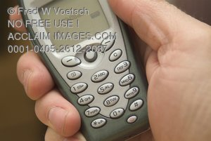 Stock Photo of a Cellular Phone in a Hand