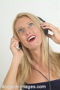 Stock Photo of a Woman Listening To Music