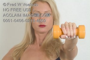 Stock Photo of a Woman Using a Dumbell Weight