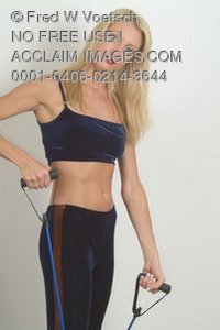 Stock Photo of a Woman Exercising With Exercise Bands