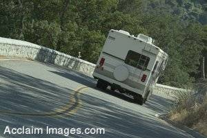 Stock Photo of an RV On a Steep  Road