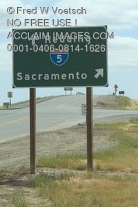 Stock Photo of an I5 Directional Highway Sign