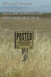 Stock Photo of a Posted Private Property Sign