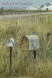 Stock Photo of Old Mailboxes