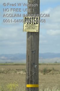 Stock Photo of a Posted - Private Property Sign on a Post