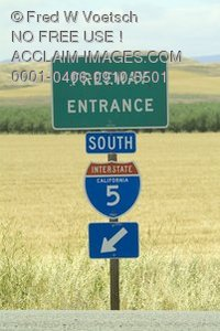 Stock Photo of Directional Highway Signs, Freeway Entrance