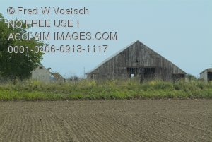 Stock Photo of an Old Barn and Crops