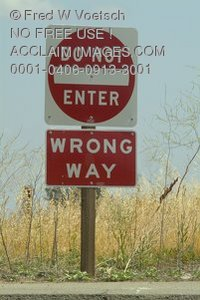 Stock Photo of Do Not Enter and Wrong Way Signs
