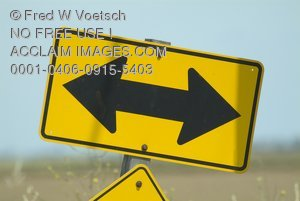 Stock Photo of a Two Way Traffic Sign, Road Sign