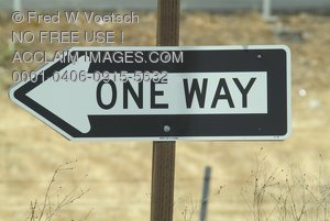 Stock Photo of a One Way Street Sign