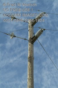 Stock Photo of a Telephone Pole and Telephone Transformers or Transmitters