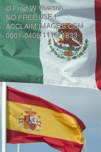 Clip Art Stock Photo of a Mexican Flag and a Spanish Flag