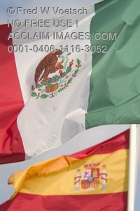 Stock Photo of a Mexican Flag and a Spanish Flag