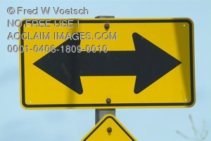 Stock Photo of a 2 Way Arrow Sign