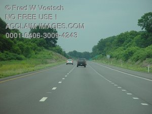 Stock Photo of Cars Ahead on a Highway