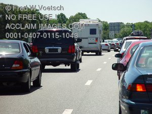 Stock Photo of Cars on the Highway During Rush Hour Traffic