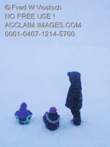 Stock Photo of Three Children in the Snow