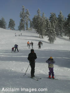 Stock Photo of Skiers on a Slope at the Mount Ashland Resort