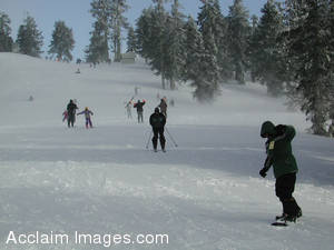 Stock Photo of Snowboarders and Skiers on the Mount Ashland