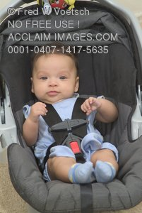 Stock Photo of a Baby in a Car Seat