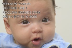 Stock Photo of a Baby Making a Cute Face