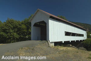 Stock Photo of Mrytle Creek, Oregons Horse Creek Covered Wooden Bridge
