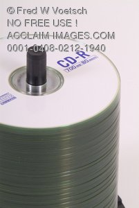 Stock Photo of a Spindle of Recordable Compact Discs