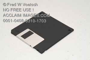 Stock Photo of a Black Floppy Disk