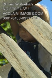 Stock Photo of a Little Girl Playing on Wood Beams