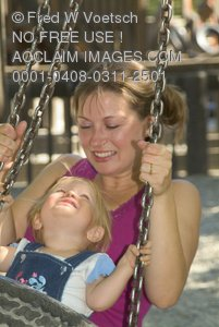 Stock Photo of a Mother and Daughter Playing in a Park