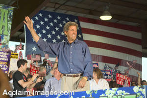 Stock Photo of John Kerry Campaigning for President of the United States