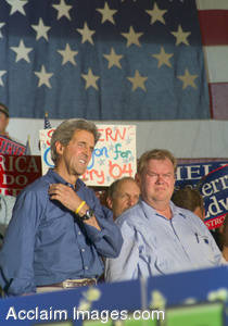 Stock Photo of John Kerry and Jim Rassmann During the 2004 Presidential Campaign