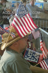 Stock Photo of a Man With an American Flag in His Hat