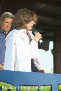 Stock Photo of Teresa Heinz-Kerry Speaking at the Kerry-Edwards Campaign Rally