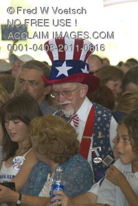"Stock Photo of ""Uncle Sam"" in a Crowd of People at a Political Event"
