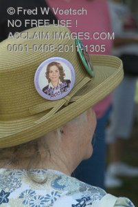 Stock Photo of a Woman Wearing a Teresa Rocks Badge on Her Hat