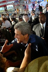 Stock Photo of John Kerry Shaking Hands On the Campaign Trail