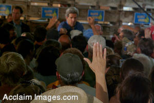 Stock Image of John Kerry Shaking Hands With his Supporters