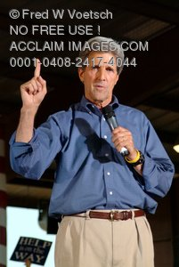 Stock Photo of John Kerry With His Finger in the Air
