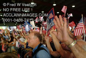Stock Photo of a Crowd of People At Kerry-Edwards Campaign Rally