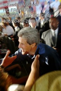 Stock Photo of Presidential Candidate John Kerry Shaking Hands With the Crowd