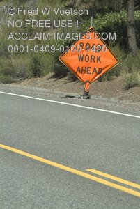 Stock Photo of a Road Work Sign