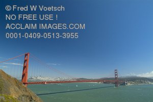 Wide Angle Stock Photo of The Golden Gate Bridge