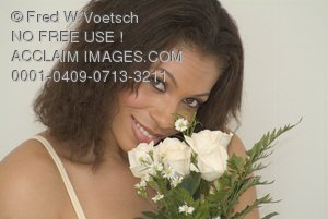 Stock Photo of an African American Beauty With White Roses